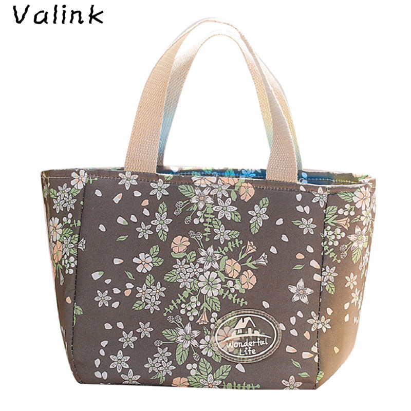 Valink New Portable Canvas Lunch Bag Insulated Thermal Cooler Lunch Box Picnic Case Food Storage Bag For Women Bolsa Termica