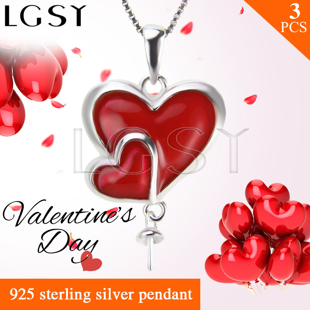 Romantic gift Double heart pendant accessories in 925 sterling silver for pearl pendant necklace 3pcs