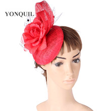 Fashion Multiple color select sinamay fascinator hat with silk flower party hat hairstyle headwear cocktail occasion