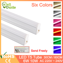 led tube T5 10W 6W 220V integrated 2ft 300mm 600mm Led Lights SMD 2835 Lighting Warm Cold White Red Green Blue Pink