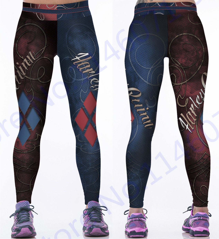 996e23e818 Print Harley Quinn Yoga Pants Women Costume The Batman Harley Quinn Running  Leggings Blue Red Diamond Fitness Tights High Waist