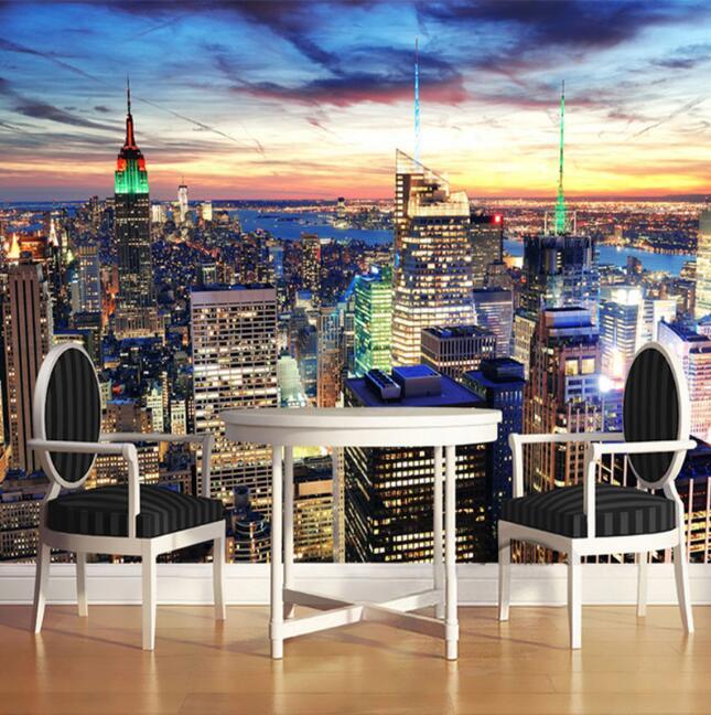 Custom 3D Photo Wallpaper Mural City Building Night View