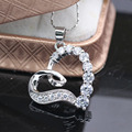Love Design 10kt White Gold Plated Austrian Crystal Heart Necklace Pendant