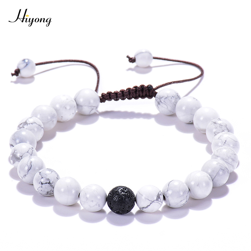 HIYONG Adjustable turquoises Braided Rope Bracelet Lava Stone Essential Oil Diffuser Natural Bangle For Women Man
