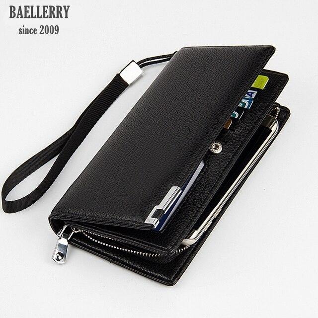 b08d0086b Baellerry marca negocios pulsera inteligente cartera cuero tarjetero hombre  cartera viaje moda hombres dinero carteras para