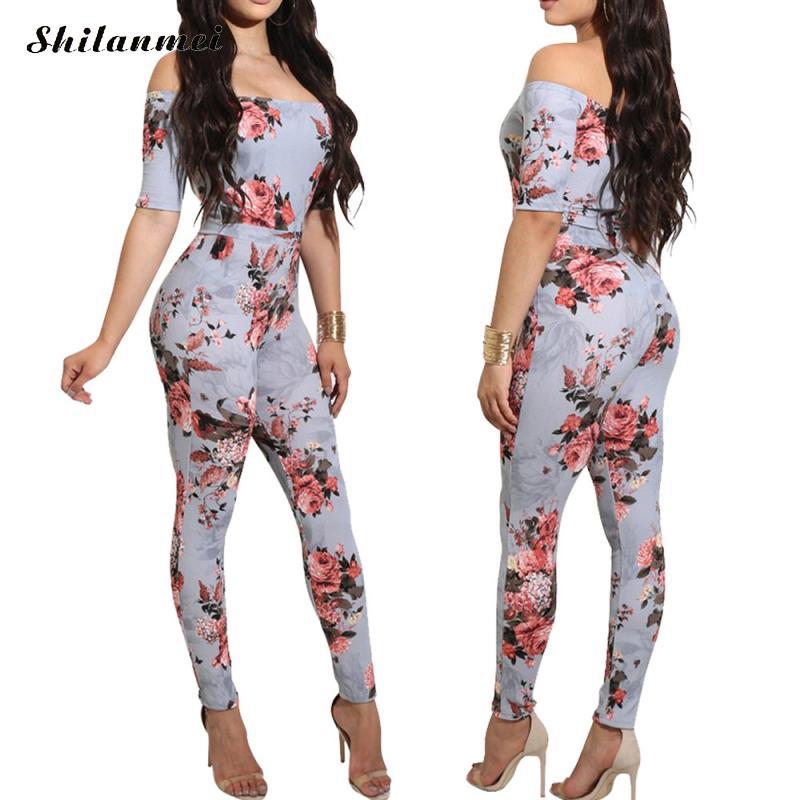 Hot sale elegant style 2017 bodycon long jumpsuit women salsh neck off shoulder romper floral print short sleeve sexy jumpsuit