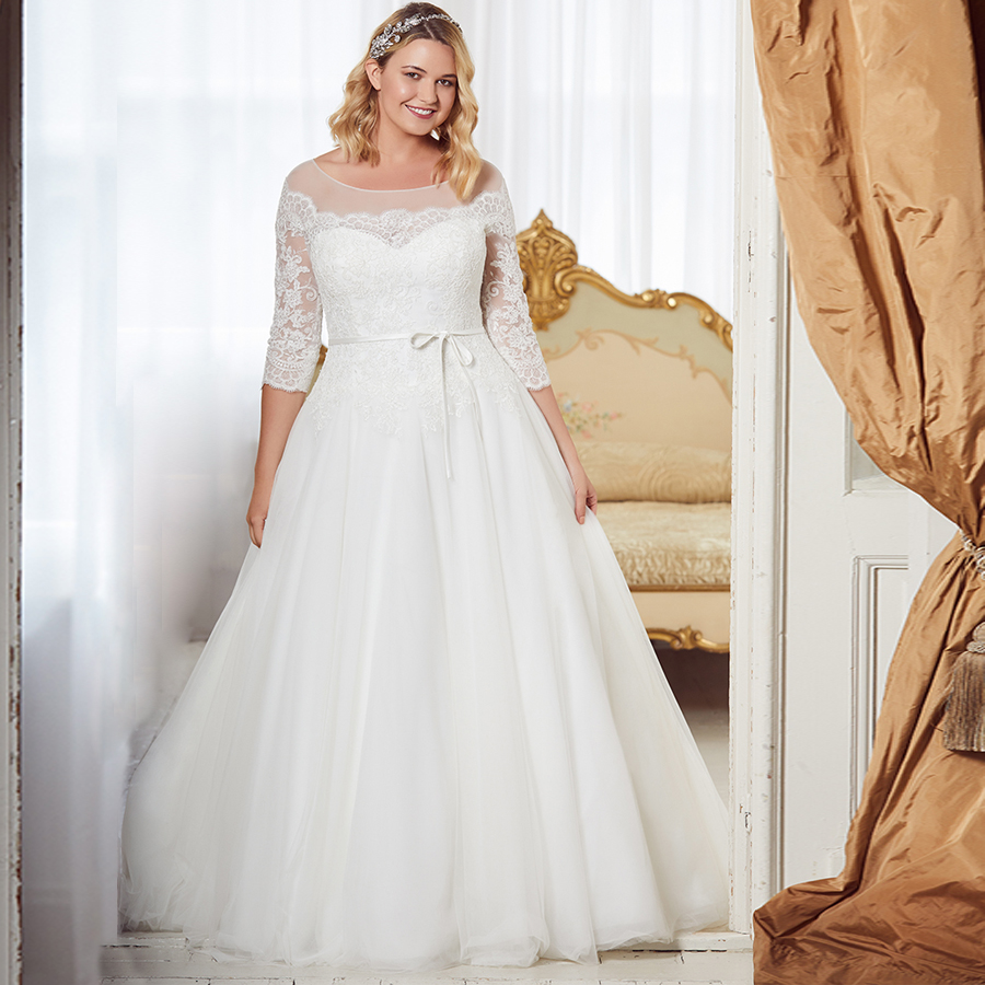 ADLN Elegant Three Quater Sleeves Lace Wedding Dress Plus Size Scoop Neck A line Tulle Wedding