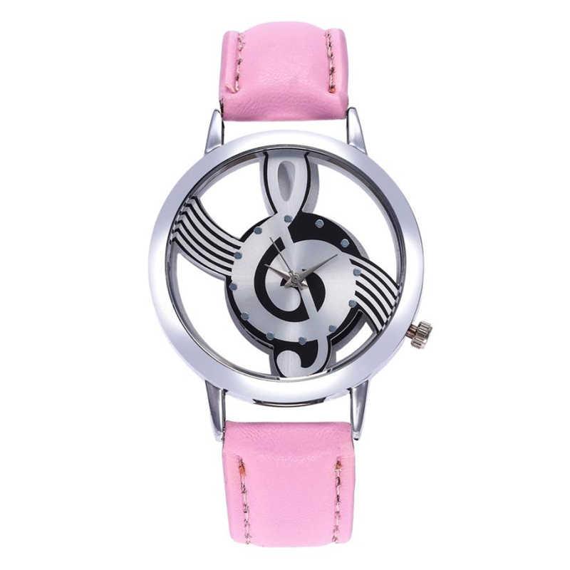 الكلاسيكية النساء الساعات موضة جلدية الفولاذ المقاوم للصدأ الموسيقية رمز طباعة كوارتز ساعة اليد feminino masculino دروبشيبينغ 35