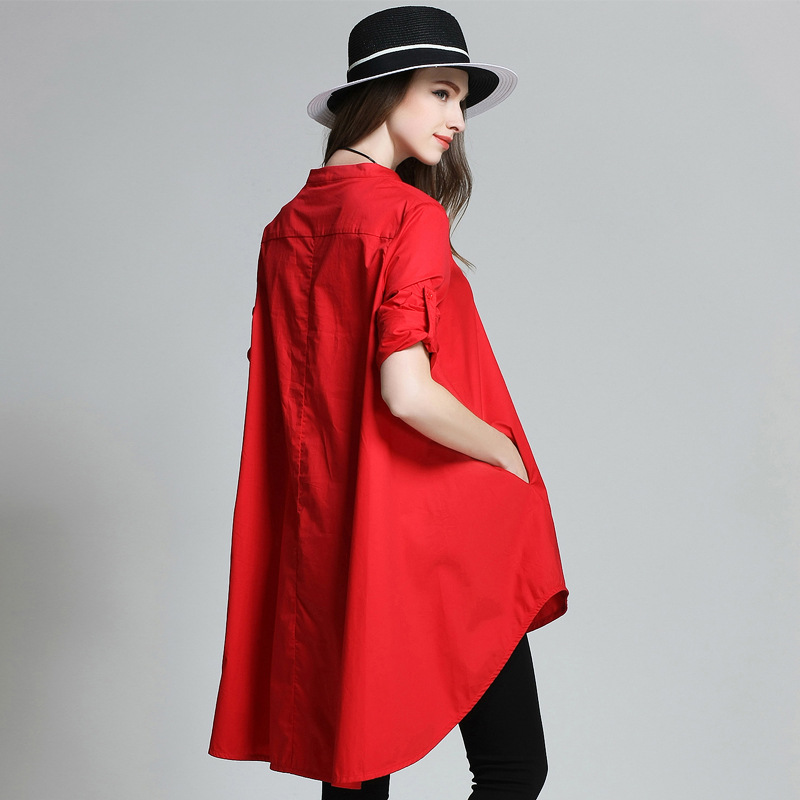 2017 Europe New Spring Solid Color Large Size Long Shirt O-collar Long Sleeved A Maternity Dress Pregnant Women Clothes chic plus size stand collar long sleeve pure color rhinestoned dress for women