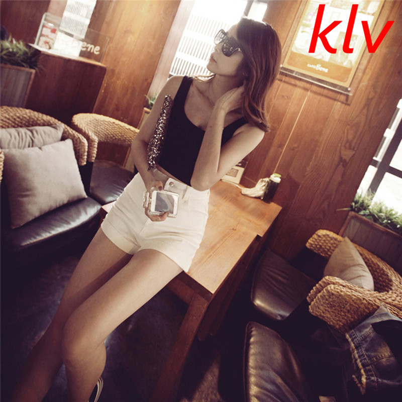 KLV Summer Slim Rendering Women Top Short Sleeveless U Croptops Solid Tank Tops Black / White Tops of Crops Top 7 Color