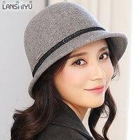 האירו כובעי שמש כובעי פדורה של בציר קוריאני סתיו חורף נשים רחב שוליים 100% צמר אמיתי גברת אישה כובע Bowknot לנשים