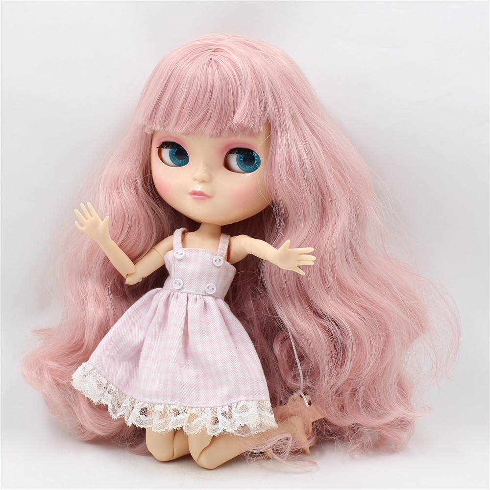 Neo Blythe Doll with Pink Hair, White Skin, Shiny Face & Jointed Azone Body 5