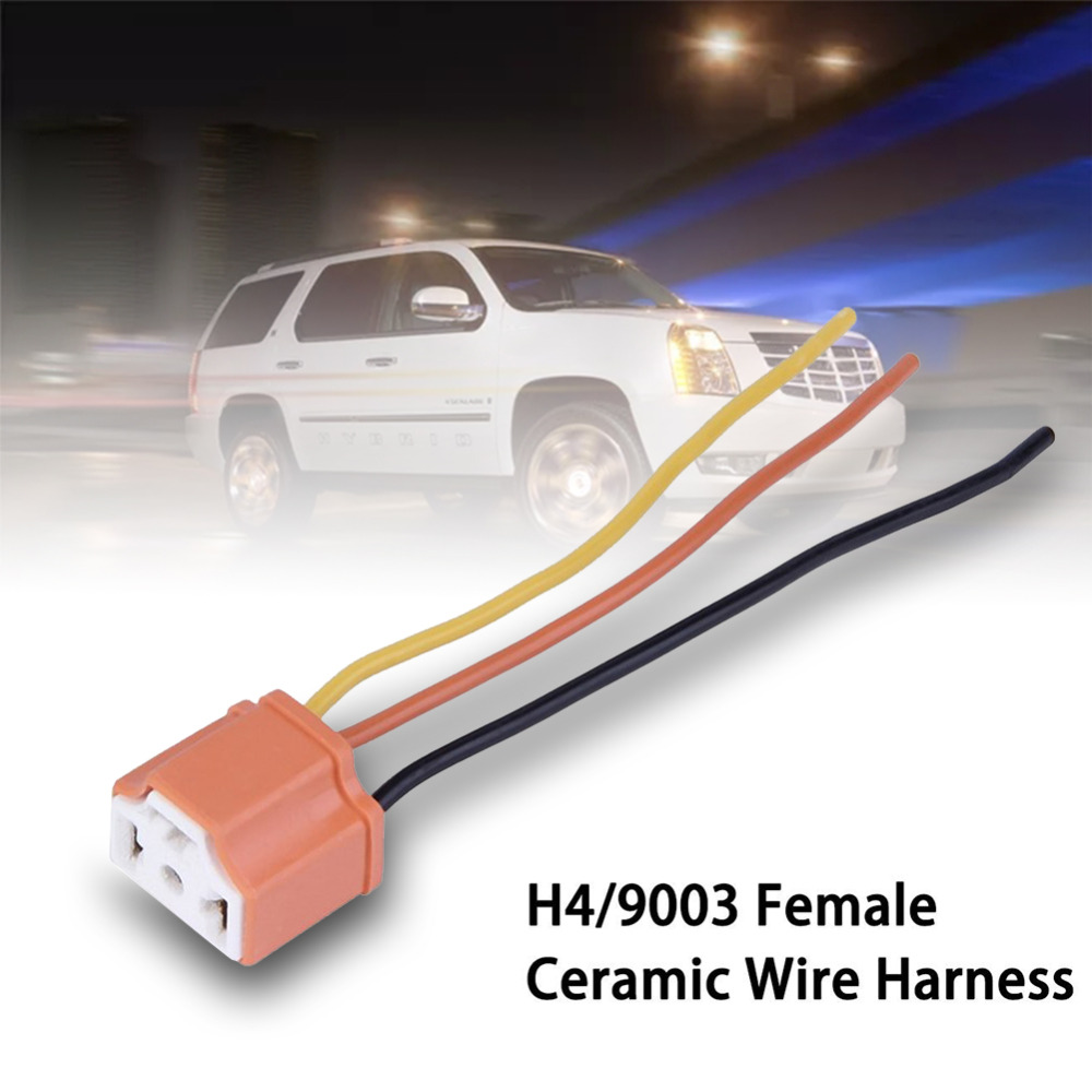 Female Ceramic Car Headlight Connector Pigtail Plug Adapter Socket Automotive Wiring Harness Pigtails H4 9003 Hb2 Accessories In Cables Adapters Sockets From Automobiles Motorcycles