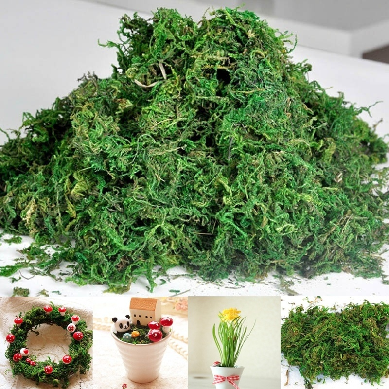 40g/bag Artificial Dried Moss Lining Decor Flower Hanging Baskets Gardening Wedding Party DIY Decoration Crafts