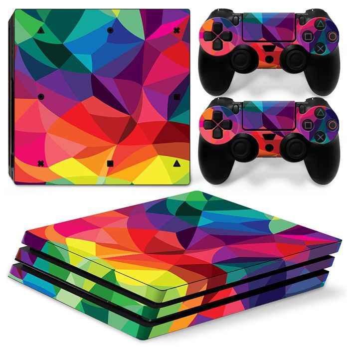 カラフルなヴァイニーデカールアートハウスのため PS4 プロコンソール + 2 コントローラ For ソニーのプレイステーション 4 プロゲームアクセサリー
