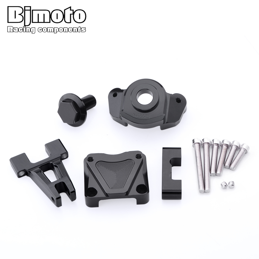 Bjmoto Motorcycle Accessories Steering Damper Stabilizer Mouting Bracket For Kawasaki Ninja 250R 2008-2014 Ninja 300 2013-2015 for kawasaki ex250r ninja 2008 2012 ninja250r 2008 2014 ninja 300 2013 2016 navigation bracket with usb charge port