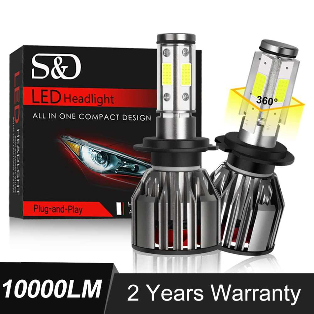 2Pcs 4-Sides COB H7 LED Canbus 80W/Pair 10000LM Headlight 9006/HB4 9005/HB3 H11 H4/9003/HB2 Hi/Lo Beam Car Light Fog Bulb 6500K