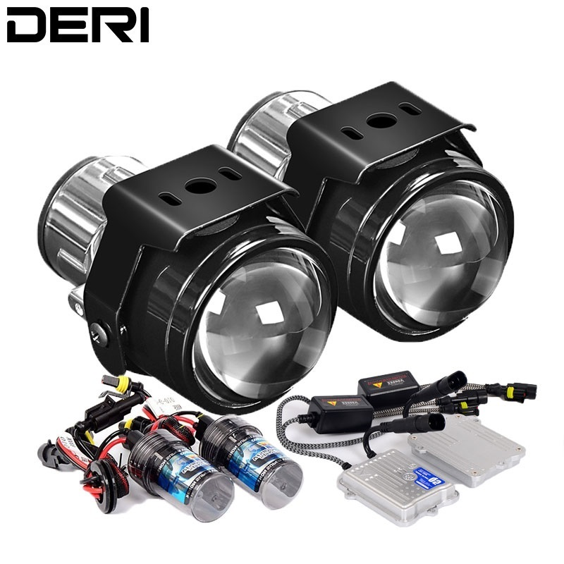 2.5 inch HID Bi-xenon Fog Lights Metal Projector Lens Driving Lamp Retrofit Car Motorcycle H11 55W Xenon Ballast Fog Lamp light new 55w xenon hid kit bulb ballast 3000k 15000k car fog lamp drl daytime driving light for 750li 2009 2010 high quality