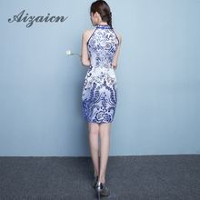 Blue Xiaqinghua Porcelain Ceremony Cheongsam Skirt Chinese Dress Modern Qipao Vintage Sexy Oriental Robe Chinoise Qi Pao