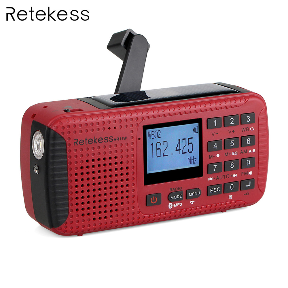 Retekess HR-11W FM/AM NOAA Weather Emergency Radio Hand Crank Solar Radio Bluetooth MP3 Player Digital Recorder Portable F9208C 5pcs pocket radio 9k portable dsp fm mw sw receiver emergency radio digital alarm clock automatic search radio station y4408