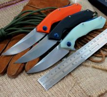 Hot Tactical Survival Folding Knife D2 Blade G10 Handle Blue Moon Outdoor Camping Hunting Hiking utility Knife EDC Tools
