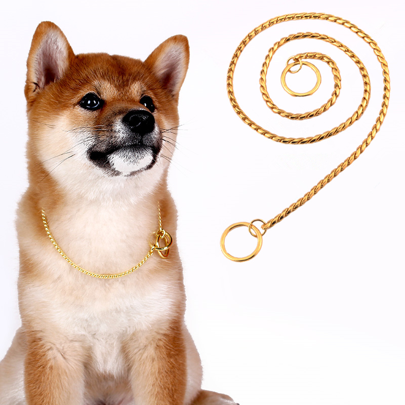 Durable Stainless Steel Pet Dog Gold Collar Lead Super Outdoor Training Chain Decor Necklace