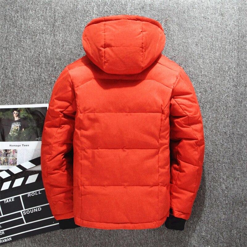 Veste de Ski pour hommes d'hiver améliorée plusieurs poches épaissir 80% vestes à capuche en duvet de canard blanc manteau de neige garde au chaud - 4