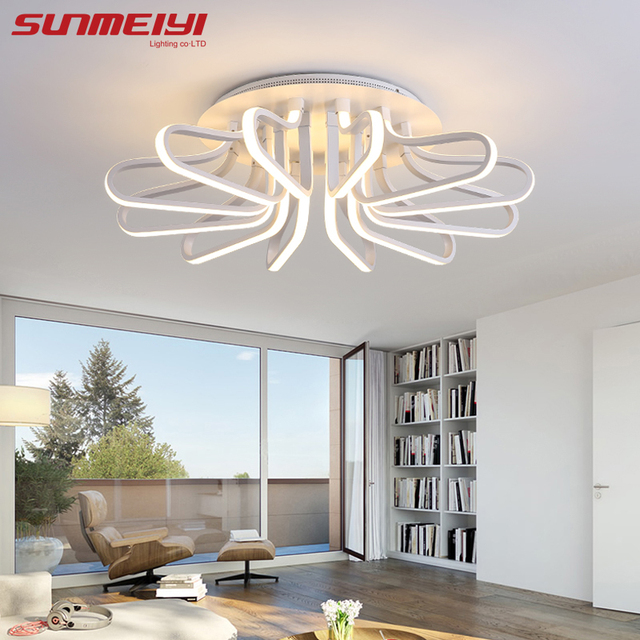 new acrylic modern led ceiling lights for living room plafon led home lighting dimming ceiling lamp - Living Room Led Ceiling Lights