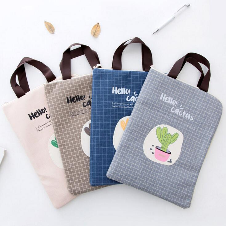 A4 Cactus Canvas File Folder Document Filing Bag Stationery Bag Pencil Case For Kids Promotional Gift Stationery Organizers