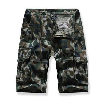 Leisure Cargo Shorts Men Camouflage More pockets Multicolor Board Shorts for Men White khaki Army green army green side pockets v neck short sleeves camouflage dress
