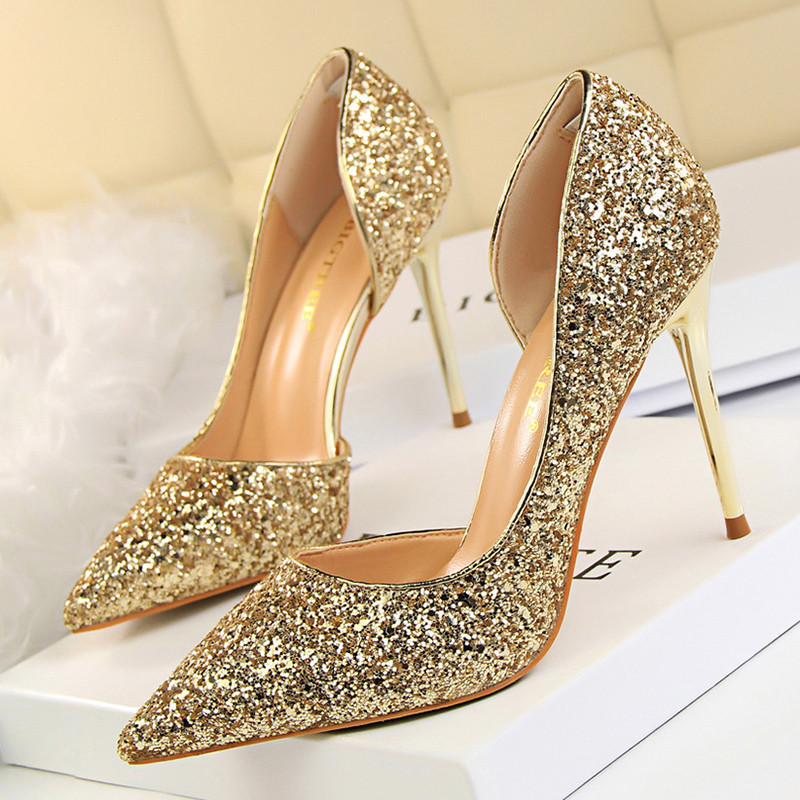 Women Pumps Sexy Glisten Women Shoes Wedding Party Dress Heels Women Hollow Shallow Mouth High Heels Stiletto high quality women shoes colorful rhinestone shallow mouth high heels mature women pumps round toe slip on party wedding shoes