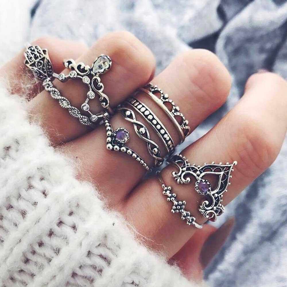 Famshin Мода 10 шт./компл. богемный полые капли воды узор Винтаж Кристалл Beidou семь звезд рука Фатимы кольцо для Для женщин Подарки