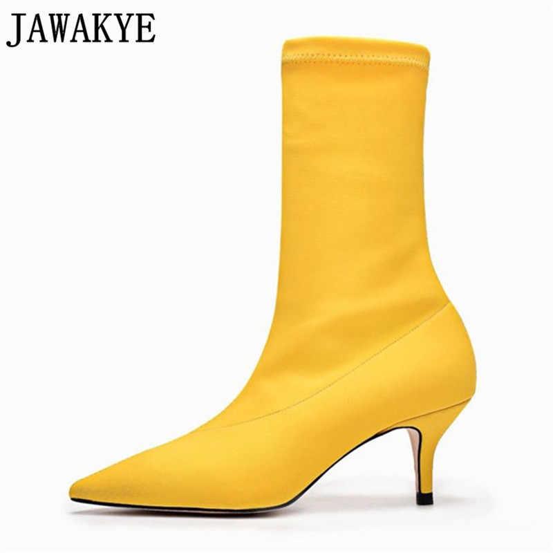JAWAKYE Sarı kırmızı Çorap ayakkabı Sivri Burun kısa çizmeler kadınlar Yüksek Topuklu yarım çizmeler kadınlar için Stiletto ayakkabı Botas Mujer
