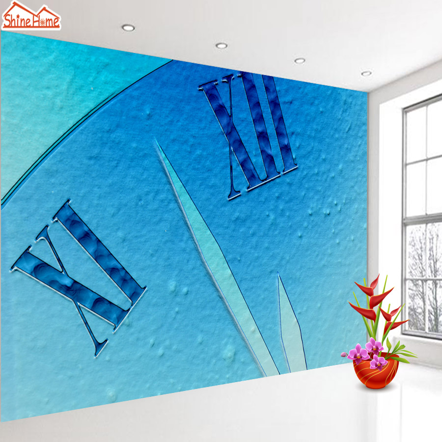 ShineHome-Blue Clock Hands Wallpaper for Bedroom Murals Rolls for 3d Walls Wallpapers for 3 d  Living Rooms Room Bar Wall Paper shinehome sunflower bloom retro wallpaper for 3d rooms walls wallpapers for 3 d living room home wall paper murals mural roll