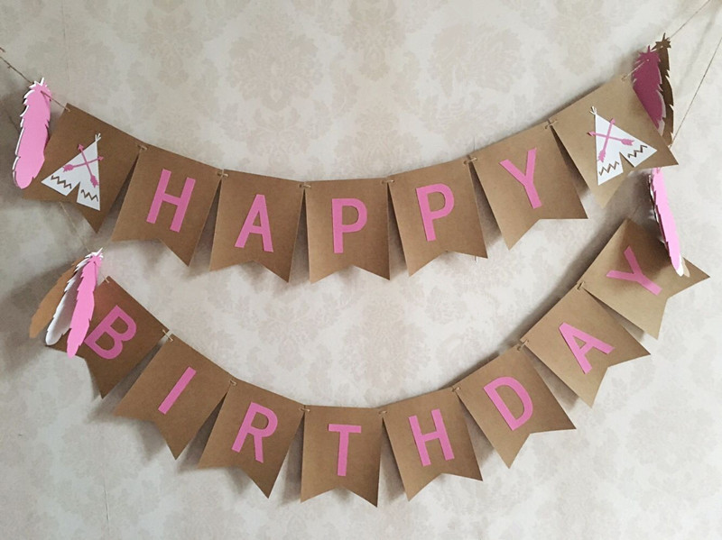 New Hot Coachella Indian Themed Happy Birthday Banner Teepee Feathers bunting Handmade Peach Girl  Birthday Party Decorations