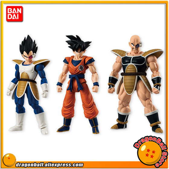 Japan Anime Dragon Ball Z Original BANDAI Tamashii Nations SHODO Vol.4 Action Figure - Son Goku & Vegeta & Nappa (9cm tall) genuine bandai exclusive tamashii nation 10th anniversary s h figuarts dragon ball z son gokou goku kaiohken ver action figure