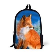 Fox Design 17 inch School Bag Makeup Kids Bagpacks for Age 6-15 Students Boys Girls Mochila Bagpack