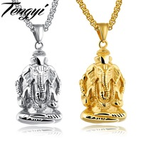 TENGYI Classic Ganesha Pendant Necklaces Man Stainless Steel White Gold Color Indian Religious Jewelry For Male