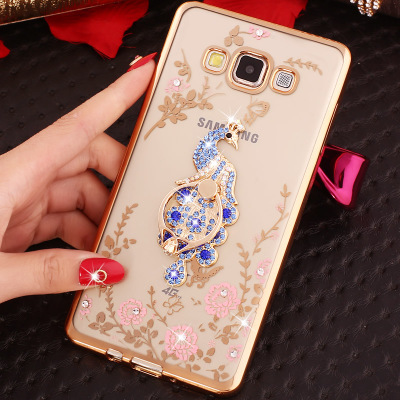 07 HQ Diamond Flower Pattern Bling Soft TPU with stand For Samsung GALAXY Grand 2 Grand2 Duos G7102 Sm-G7102 Sm-G7106