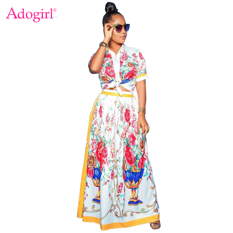 Adogirl Floral Print Women Two Piece Set Dress Turn Dow Collar Short Sleeve Shirts Blouses Top Maxi Skirt Casual Outfits Suits