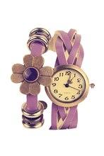 Women's Retro Weave Wrap Flower Faux Leather Bracelet Wrist Watch Purple