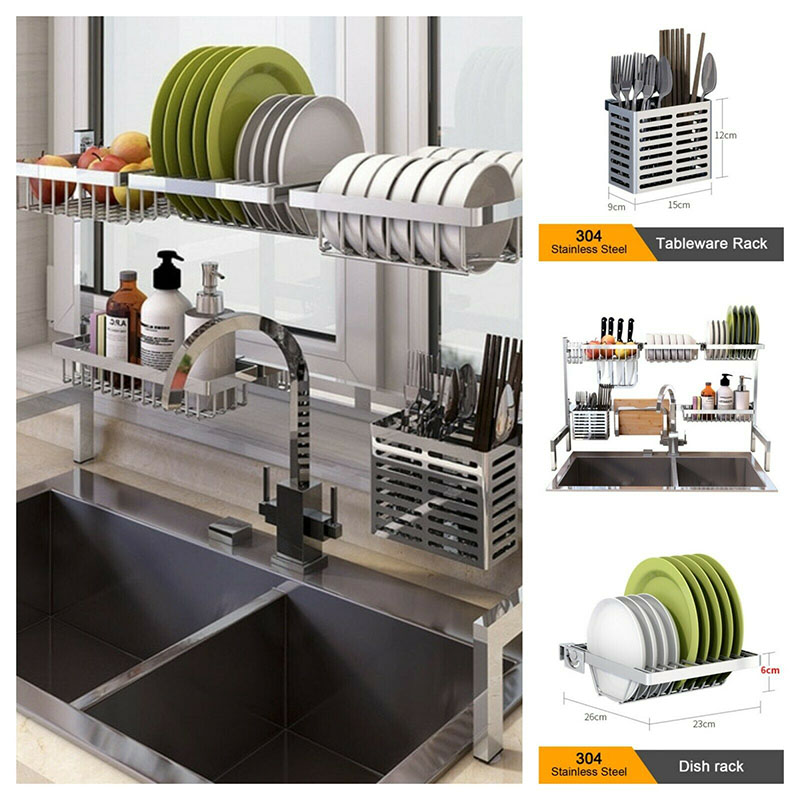 304 Stainless Steel Kitchen Shelf Rack Drying Drain Storage Holders Plate Dish Dish Cup  Kitchen Soap Bathroom Storage Organizer