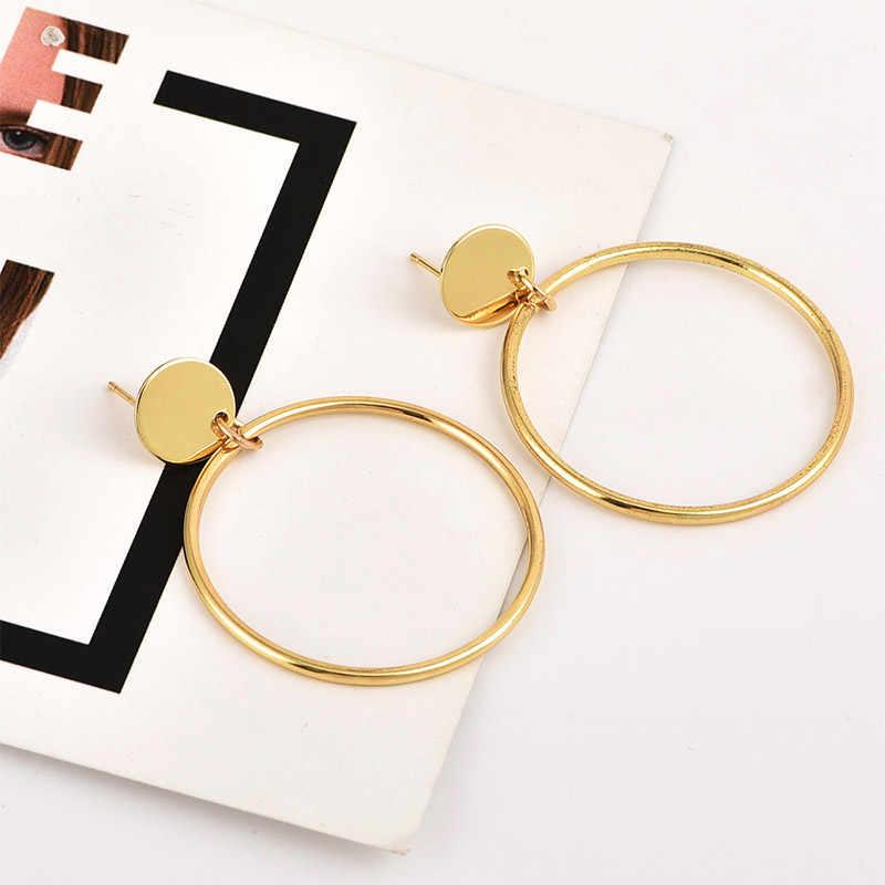 USTAR Simple Round Drop Earrings for Women 2018 Fashion Jewelry Geometric Statement Earrings female hanging kolczyki oorbellen