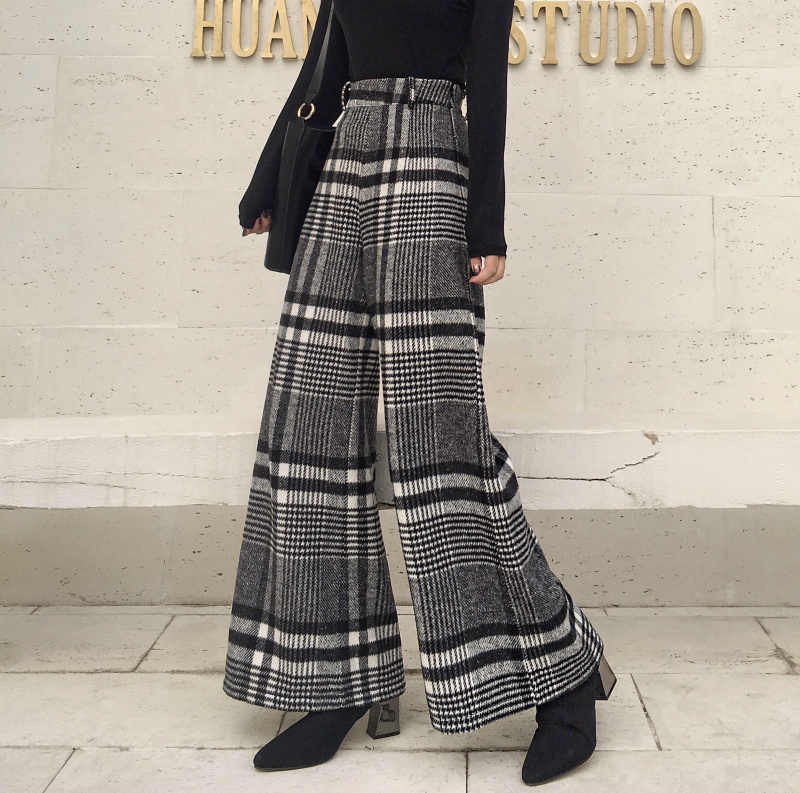 Wool Black White Plaid Loose Women Wide Leg Pants High Waist Autumn Spring Plus Long Trousers For Female Casual Fashion