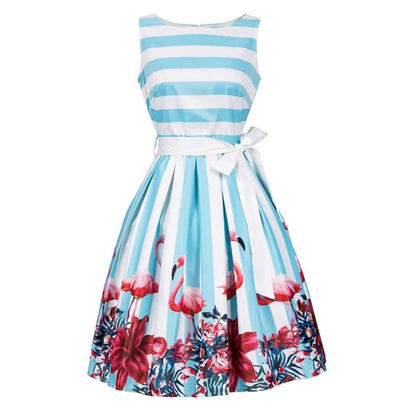 Women Pin Up Vintage Dress Floral Print Rockabilly Bow Belt Dresses Blue White Stripe A Line Vintage Summer Dresses