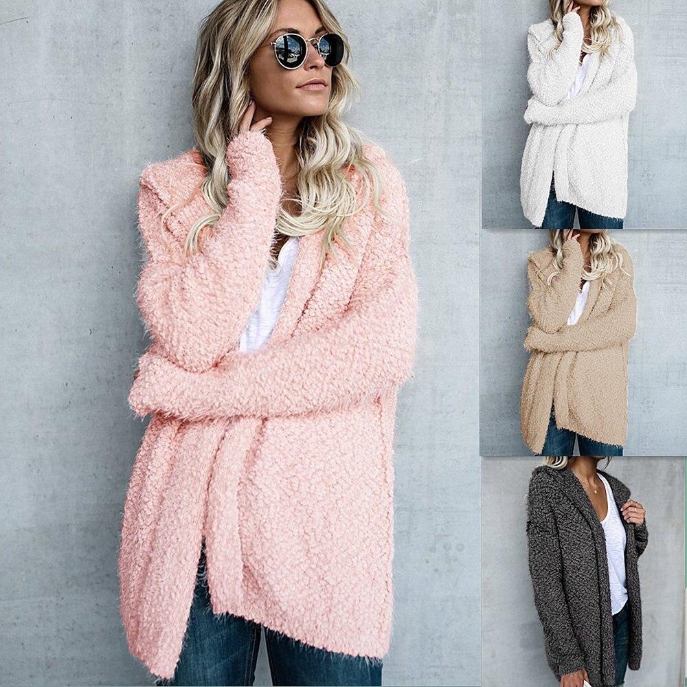 4 Colour Warm Women Basic Coat 2018 Winter Female Autumn Jackets For Women Coat Solid Warm Soft Plush Hooded Casual Jacket