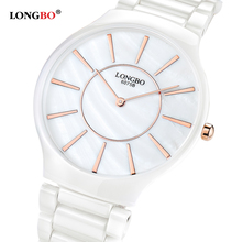 LONGBO Brand Luxury Lovers Ceramic Watch 2016 Fashion Casual Women Dress Quartz Watch Men Waterproof Wristwatch