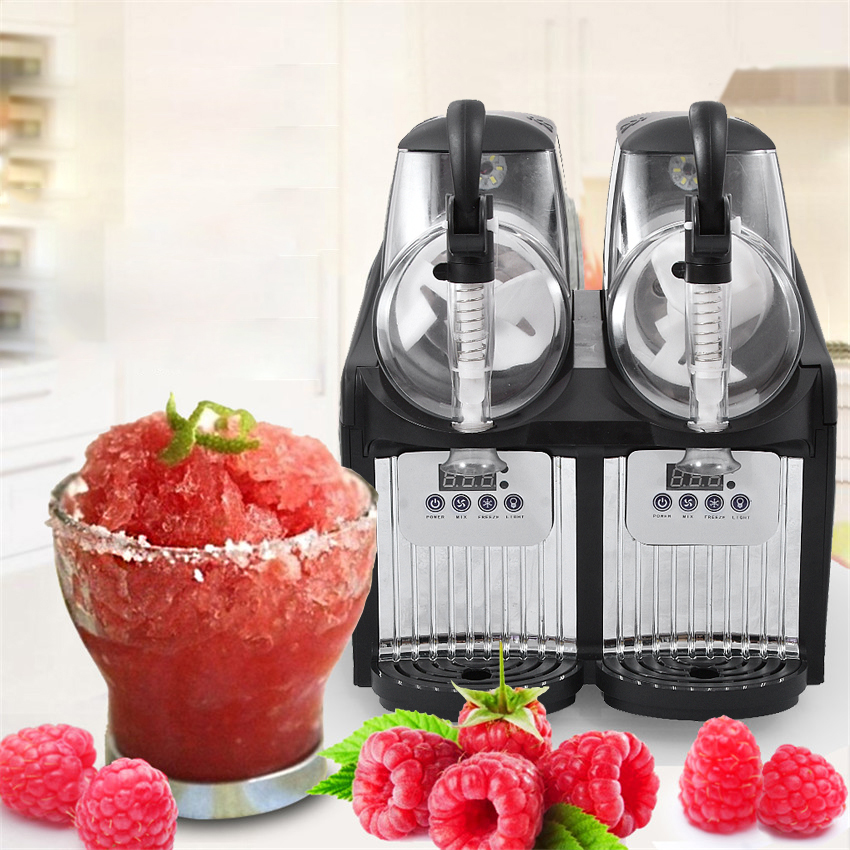 2 Tank Electric Automatic Slush Make Machine Soft Ice Slush Sand Ice Tea Juice Making Machine  Commercial Use TKX-2.5L*2