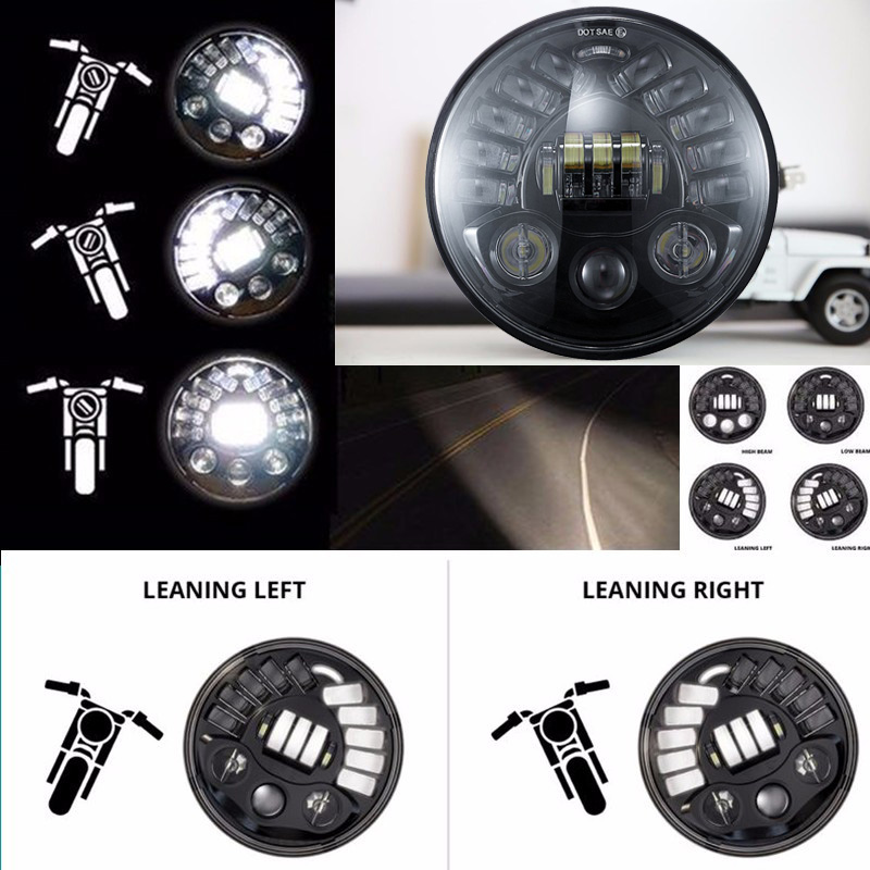 US $112 31 28% OFF|7 in  Daymaker Projector Adaptive LED Headlamp 7inch  High Low Beam H4 For Harley Motorcycle BMW R NineT R9T Motobike Led Lights  on