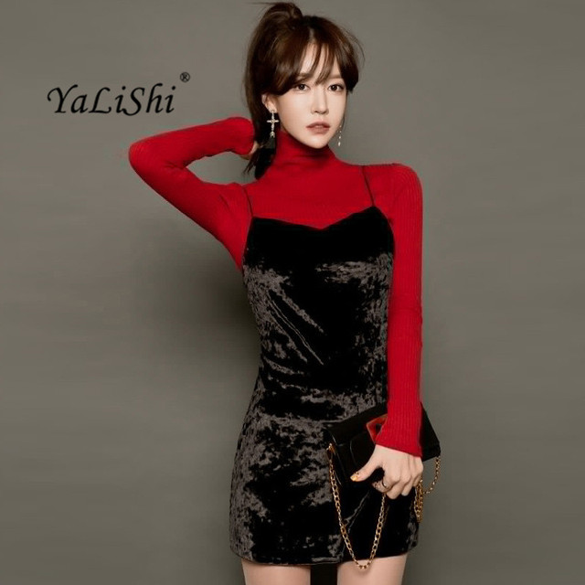 0f60f6639fdb 2 Pieces Sweater Dresses Red Knitted Long Sleeve Turtleneck Bandage Women  Dress Sexy Party Black Velvet Spaghetti Strap Dress